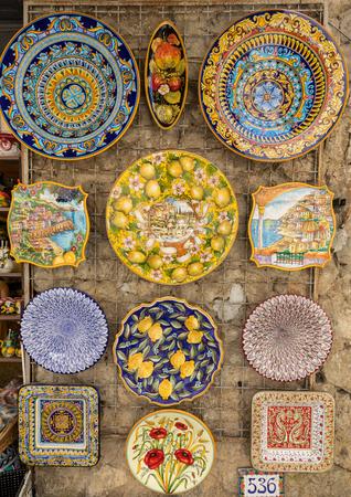 Ravello, Italy - June 16, 2017: Ceramics shop in the main square of Ravello, Campania, Italy Editorial