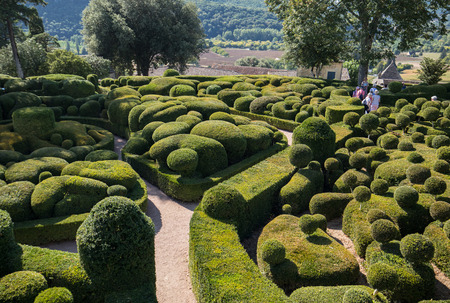 Dordogne, France - September 3, 2018:  Topiary in the gardens of the Jardins de Marqueyssac in the Dordogne region of France