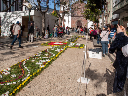 Funchal, Madeira, Portugal - April 19, 2018: Flower festival - the famous floral carpets in the city centre of Funchal along the central promenade of Avenida Arriaga. Madeira. Portugal