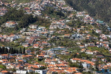 Typical terrace architecture on the steep slopes of Funchal on the Madeira island. Portugal