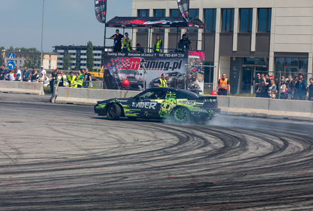 Cracow, Poland - May 18, 2019: Drift car in action at 5th edition of Moto Show in Cracow. Poland.