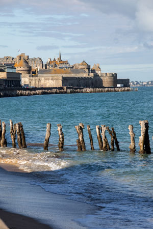 View of beach and old town of Saint-Malo. Brittany, France Stock fotó