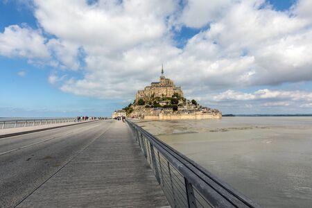 Le Mont-Saint-Michel, France - September 13, 2018: Mont-Saint-Michel, island with the famous abbey, Normandy, France