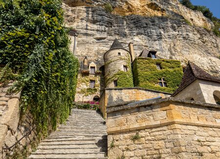 A majestic stone staircase in La Roque-Gageac a charming town in the Dordogne valley. France
