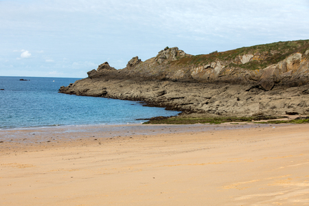 Beautiful sandy beach on the Emerald coast between Saint Malo and Cancale. Brittany, France 写真素材