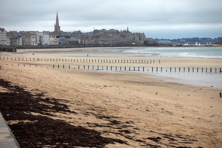 View of beach and old town of Saint-Malo. Brittany, France Stock Photo
