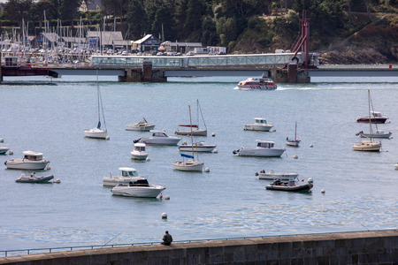 St Malo, France - September 14, 2018: Yachts and boats moored in harbour of Saint-Malo, Brittany, France