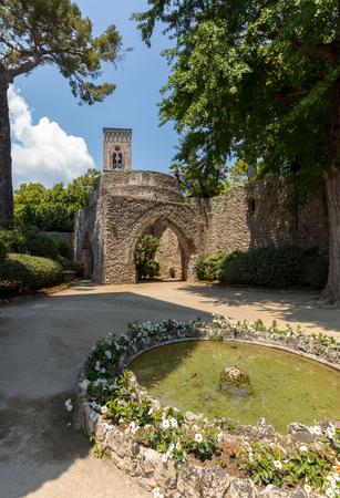 Ravello, Italy - June 16, 2017: Garden at Villa Rufolo in Ravello. Amalfi Coast Italy