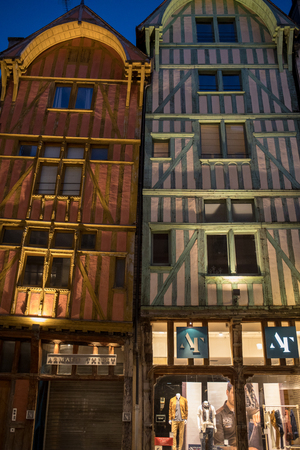 Troyes, France - August 31, 2018: Views of old town at night. Troyes - capital of Aube department in Champagne region. France. Many half-timbered houses (mainly of 16th century) survive in old town 에디토리얼