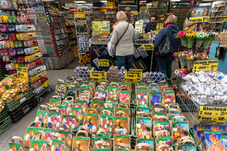 Amsterdam, Netherlands - April 20, 2017: Flowers bulbs at the traditional flower market, Amsterdam, Holland, The Netherlands