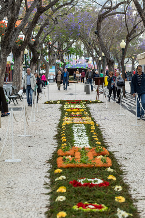 Funchal, Madeira, Portugal - April 23, 2018: Flower festival - the famous floral carpets in the city centre of Funchal along the central promenade of Avenida Arriaga. Madeira. Portugal Foto de archivo - 124248406