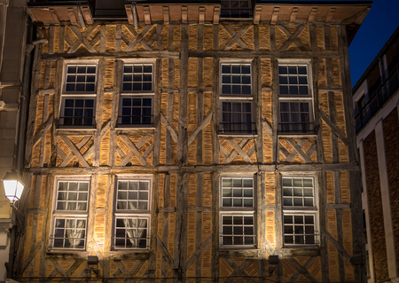 Views of old town at night. Troyes - capital of Aube department in Champagne region. France. Many half-timbered houses (mainly of 16th century) survive in old town
