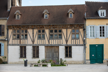Troyes, France - August 31, 2018: View of old town in Troyes - capital of Aube department in Champagne region. France. Many half-timbered houses (mainly of 16th century) survive in old town 에디토리얼