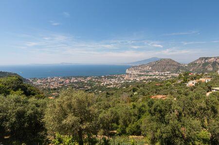 Aerial view of Sorrento, Vesuvio and the Gulf of Naples. Amalfi Coast. Italy