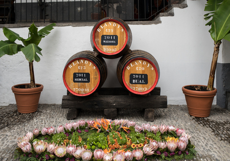 Funchal, Madeira, Portugal - April 23, 2018: The museum - storage of expensive vintage wine Madera. Huge barrels are marked by data of wine. Funchal, Madeira. Portugal Zdjęcie Seryjne - 124999259