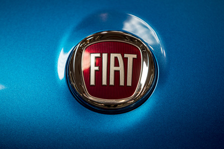 Cracow, Poland - May 18, 2019: Fiat metalic logo closeup on the Toyota car displayed at Moto Show in Cracow Poland. Exhibitors present most interesting aspects of the automotive industry