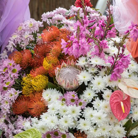 Beauty floristic decoration with colorful tropical flowers