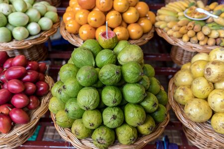 Fresh exotic fruits in Mercado Dos Lavradores. Funchal, Madeira, Portugal