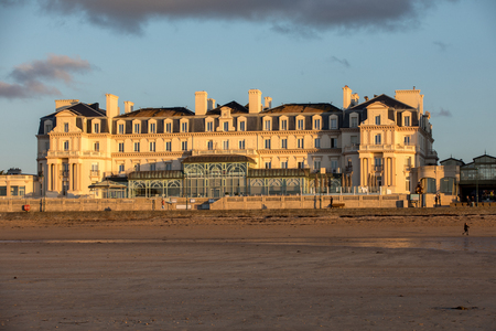 Saint-Malo, France - September 14, 2018: The Thermes Marins Spa is in a stunning location on the beachfront and overlooks a fine sandy beach in St Malo. France