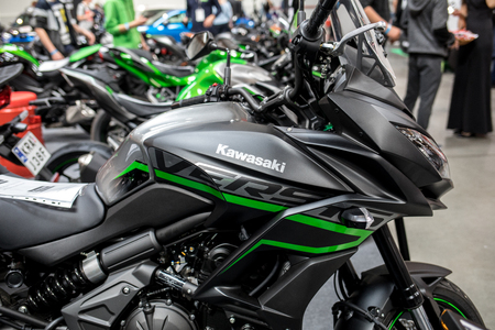 Cracow, Poland - May 18, 2019: Kawasaki motorcycle displayed at Moto Show in Krakow. Poland. Exhibitors present  most interesting aspects of the automotive industry