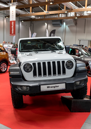 Cracow, Poland - May 18, 2019:  Jeep Wrangler displayed at  Moto Show in Cracow Poland. Exhibitors present  most interesting aspects of the automotive industry Editöryel