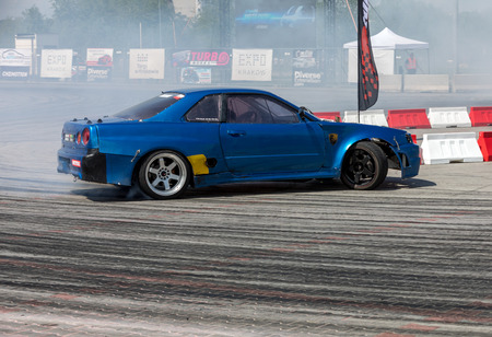 Cracow, Poland - May 18, 2019: Drift car displayed at  Moto Show in Cracow Poland. Exhibitors present  most interesting aspects of the automotive industry
