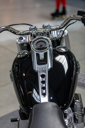 Cracow, Poland - May 18, 2019: Harley Davidson motorcycle displayed at Moto Show in Krakow. Poland. Exhibitors present  most interesting aspects of the automotive industry Stok Fotoğraf - 129333695