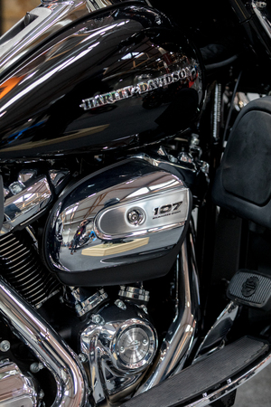 Cracow, Poland - May 18, 2019: Harley Davidson motorcycle displayed at Moto Show in Krakow. Poland. Exhibitors present  most interesting aspects of the automotive industry