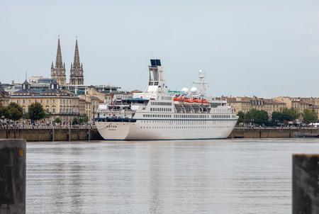 Bordeaux, France - September 9, 2018: Cruise ships in the Garonne river harbour. Bordeaux, Gironde. Aquitaine France Europe