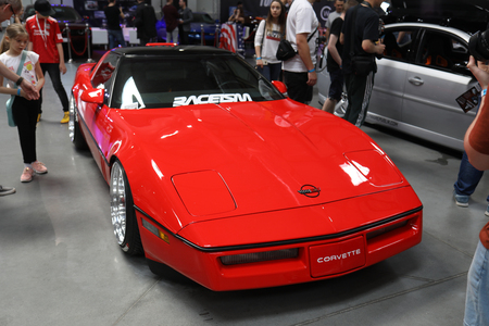 Cracow, Poland - May 18, 2019:  Chevrolet Corvette displayed at  Moto Show in Cracow Poland. Exhibitors present  most interesting aspects of the automotive industry