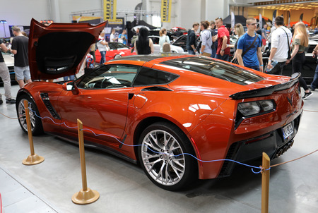 Cracow, Poland - May 18, 2019:  Chevrolet Corvette displayed at  Moto Show in Cracow Poland. Exhibitors present  most interesting aspects of the automotive industry Stok Fotoğraf - 129333835