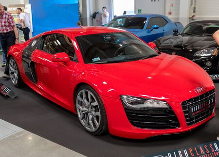 Cracow, Poland - May 18, 2019:  Tuned Audi displayed at  Moto Show in Cracow Poland. Exhibitors present  most interesting aspects of the automotive industry