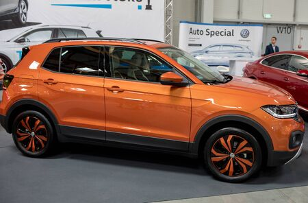 Cracow, Poland - May 18, 2019:  Volkswagen  T-Cros displayed at  Moto Show in Cracow Poland. Exhibitors present  most interesting aspects of the automotive industry Editöryel