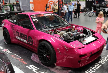 Cracow, Poland - May 18, 2019: Drift car displayed at  Moto Show in Cracow Poland. Exhibitors present  most interesting aspects of the automotive industry Stok Fotoğraf - 129333851