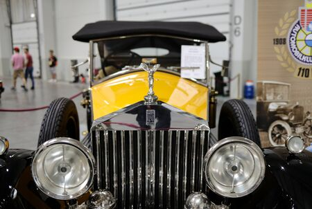 Cracow, Poland - May 18, 2019: Rolls-Royce Convertible at Moto Show in Krakow. Produced in 1929-36. Perhaps the only such car in the world. Manufactured in England as a limousine converted at the Rolls-Royce plant in Australia for a convertible