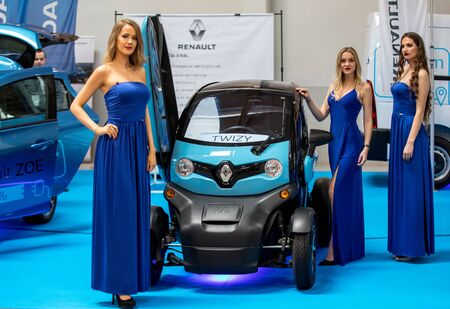 Cracow, Poland - May 18, 2019: Renault Twizy displayed at Moto Show in Cracow Poland. Exhibitors present  most interesting aspects of the automotive industry Editöryel