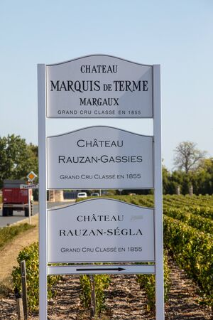 Margaux, France - September 11, 2018: Vineyards signboards  in Margaux, known for producing excellent wines. Bordeaux region, France