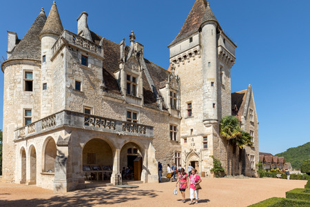 Milandes, France - September 4, 2018: Chateau des Milandes, a castle  in the Dordogne, from the forties to the sixties of the twentieth century belonged to Josephine Baker. Aquitaine, France
