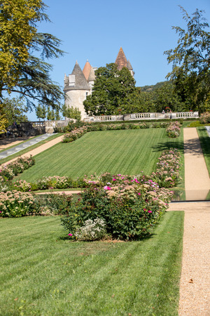 Milandes, France - September 4, 2018: the garden of Chateau des Milandes, a castle  in the Dordogne, from the forties to the sixties of the twentieth century belonged to Josephine Baker. Aquitaine, France