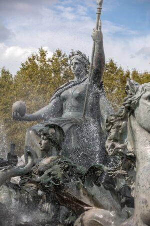 Esplanade des Quinconces, fontain of the Monument aux Girondins in Bordeaux. France Stock fotó