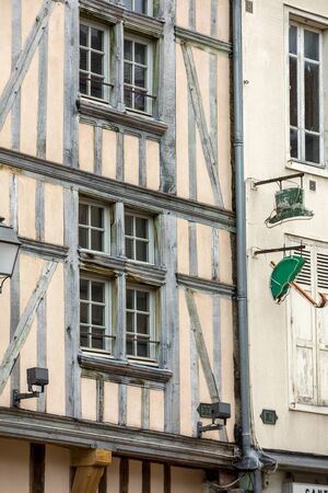 Ancient half-timbered buildings in Troyes. Aube, Champagne-Ardenne, France Stock fotó