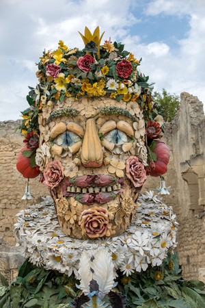 Les Baux, France - June 26, 2017: The artwork, titled Spring is Four Seasons three-dimensional interpretations created by Philip Haas and inspired by a set of paintings with the same titles by Italian Renaissance artist Giuseppe Arcimbaldo. Each season is Editorial
