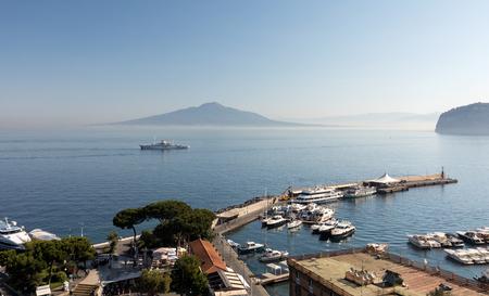 Sorrento, Italy - June 13, 2017: View over Marina and Bay of Naples, Sorrento, Neapolitan Riviera, Italy