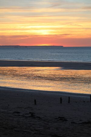 Beauty sunset view from beach in Saint Malo,  Brittany, France