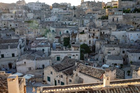 View of the Sassi di Matera a historic district in the city of Matera, well-known for their ancient cave dwellings. Basilicata. Italy 版權商用圖片