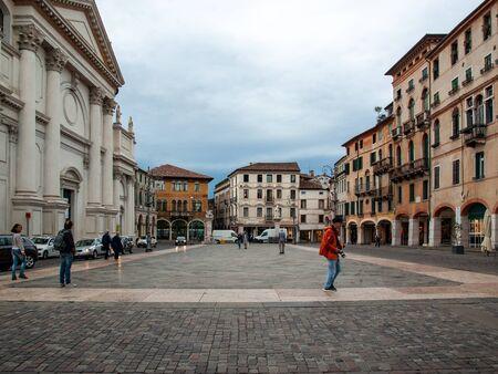 Bassano del Grappa, Italy  - September 6, 2019: Piazza Liberta ( Liberty Square) in Bassano del Grappa. Italy Archivio Fotografico