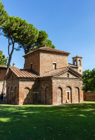 Ravenna, Italy - Sept 11, 2019: The Mausoleum of Galla Placida in Ravenna, Italy. Small chapel with colorful Byzantine mosaics - one of the UNESCO world heritage site. 報道画像