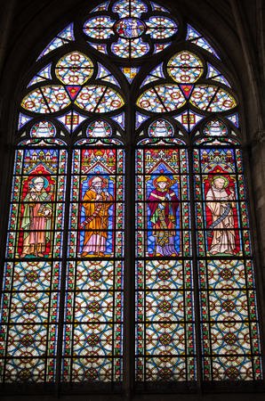 Troyes, France - August 31, 2018: Colorful stained glass windows in Basilique Saint-Urbain, 13th century gothic church in Troyes, France