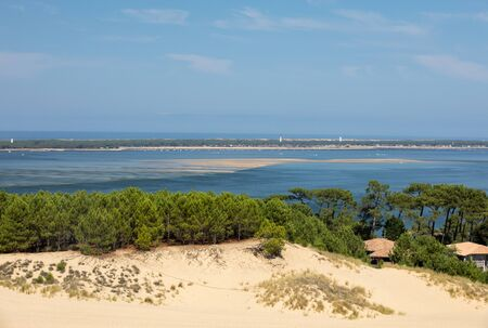 View from the Dune of Pilat, the tallest sand dune in Europe. La Teste-de-Buch, Arcachon Bay, Aquitaine, France Stock Photo