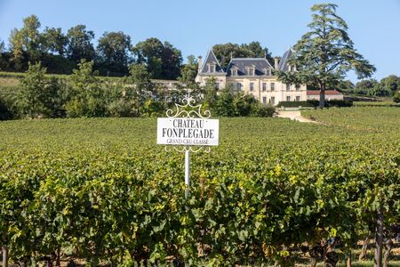 Saint Emilion, France - September 11, 2018: Vineyard of Chateau Fonplegade - name (literally fountain of plenty) was derived from the historic 13th century stone fountain that graces the estate's vineyard. St Emilion, France